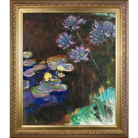 Hand-painted Oil Reproduction of Claude Monet's  <i>Water Lilies and Agapanthus</i>.