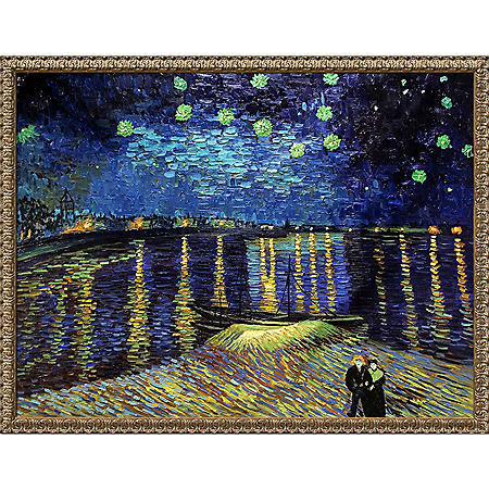 Hand-painted Oil Reproduction of Vincent Van Gogh's <i>Starry Night Over The Rhone</i>.