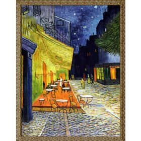 Hand-painted Oil Reproduction of Vincent Van Gogh's <i>Cafe Terrace at Night</i>.