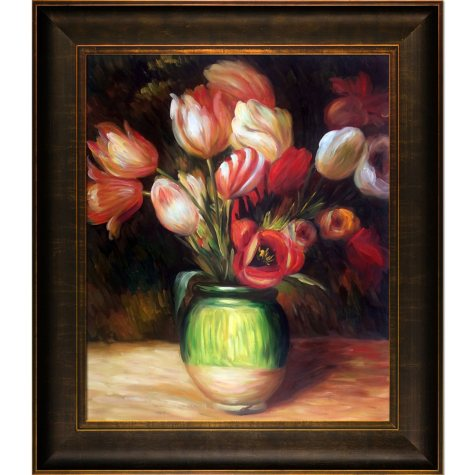 Hand-painted Oil Reproduction of Pierre Auguste Renoir's Tulips in a Vase..