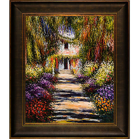 Hand-painted Oil Reproduction of Claude Monet's Garden Path at Giverny.