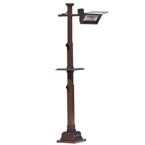Mojave Sun 1500 Watt Hammer Tone Bronze Telescoping Pole Mounted Infrared Patio Heater w/Table