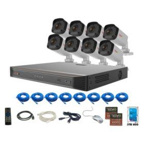 REVO Ultra 16 Channel 4K Smart NVR, 3TB HDD 8x 4 Megapixel (2K) Indoor/Outdoor IR Bullet Cameras