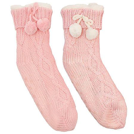Ladies' Cable Pom Pom Slipper Socks