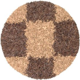 Hand Woven Leather Shag Round Rug - 6' - Espresso