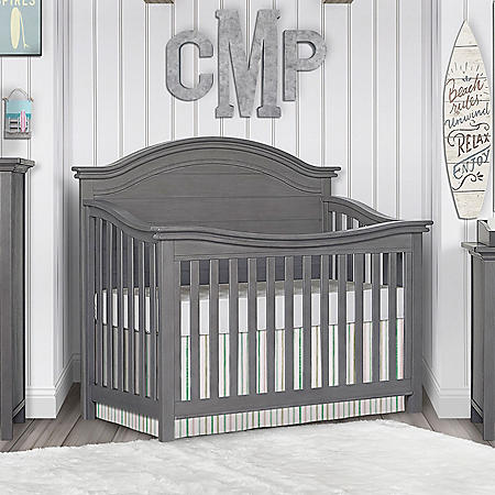 Evolur Belmar Curve Top 5-in-1 Convertible Crib (Choose Your Color)