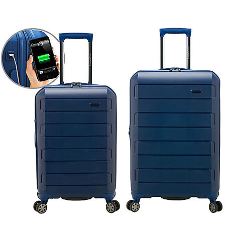 Traveler's Choice Pagosa 2-Piece Indestructible Polypropylene Expandable Hardshell Spinner Set with USB Port