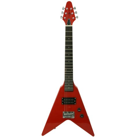 "Mini V-Shaped Electric Guitar & Amp Pack in Red with 22"" Scale"