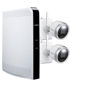 Lorex 1080p HD Wire-Free Security System with 2 Battery-Operated Active Deterrence Cameras and Person Detection
