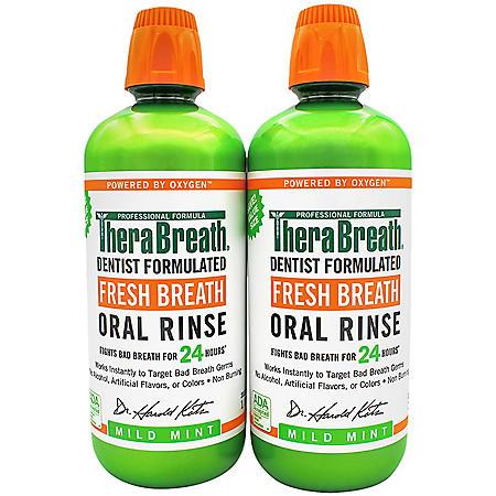 TheraBreath 24-Hour Fresh Breath Oral Rinse, Mild Mint (1.0 Liter, 2 pk.)