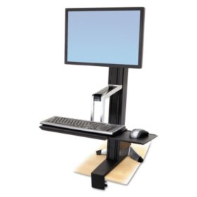 Ergotron WorkFit-S Sit-Stand Workstation without Worksurface, Aluminum/Black