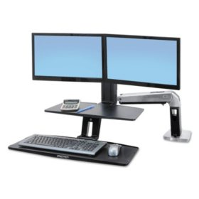 Ergotron WorkFit-A Sit-Stand Workstation with Suspended Keyboard (for dual monitors)