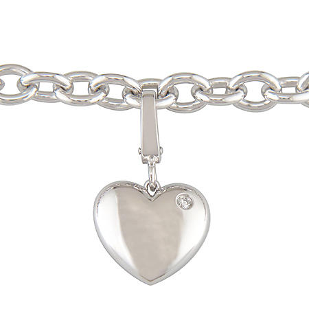 Diamond Accent Heart Charm Bracelet in Sterling Silver