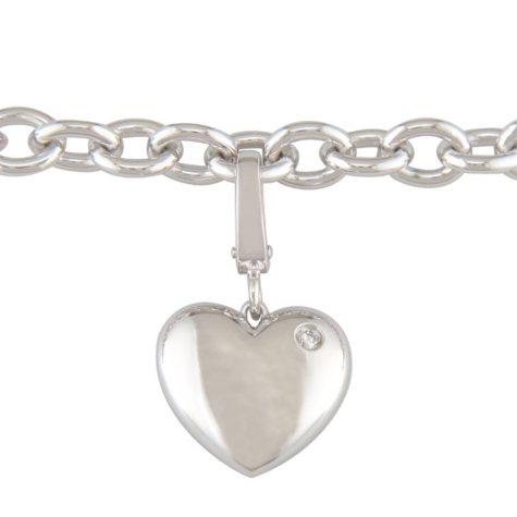 Diamond Accent Heart Charm Bracelet in Sterling Silver