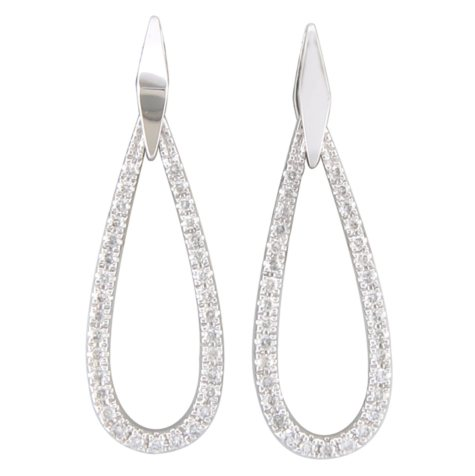 0.33 CT. T.W. Diamond Teardrop Earrings in 14K White Gold (H-I, I1)