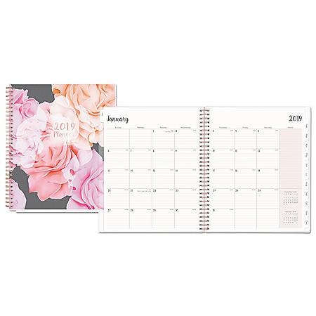 Blue Sky Joselyn Monthly Wirebound Planner, 10 x 8, Light Pink/Peach/Black, 2020