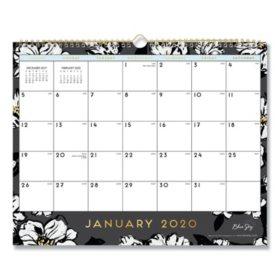 """Blue Sky Baccara Dark Wall Calendar, 15"""" x 12"""", 2020"""