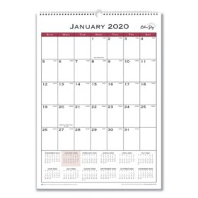 "Blue Sky Classic Red Wall Calendar, 12"" x 17"", 2020"