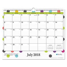 """Blue Sky Teacher Dots Academic Year Wall Calendar, 15"""" x 12"""", Asst Color Dots, 2018-2019"""