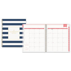 """Blue Sky Day Designer Academic Year Daily/Monthly Frosted Planner, 8"""" x 10"""", Navy/White"""