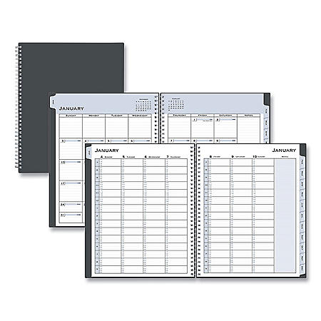 Blue Sky Passages Weekly/Monthly Wirebound Planner, Vertical Format, 11 x 8.5, Black Cover, 2021