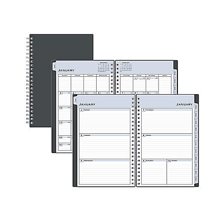 Blue Sky Passages Weekly/Monthly Wirebound Planner, 8 x 5, Charcoal, 2021