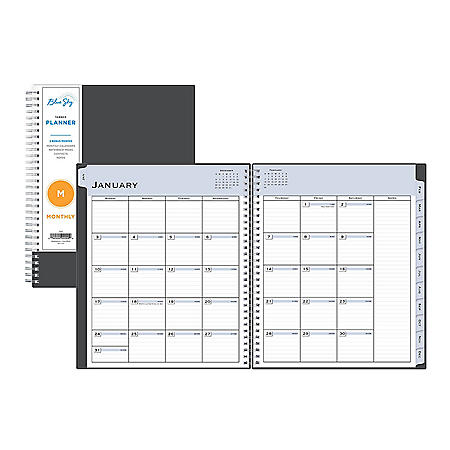 Blue Sky Passages Monthly Wirebound Planner, 10 x 8, Charcoal, 2021