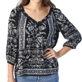 Bila Women's V Neck 3/4 Sleeve Printed Blouse