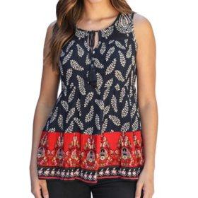 Bila Women's Sleeveless Printed Peasant Top