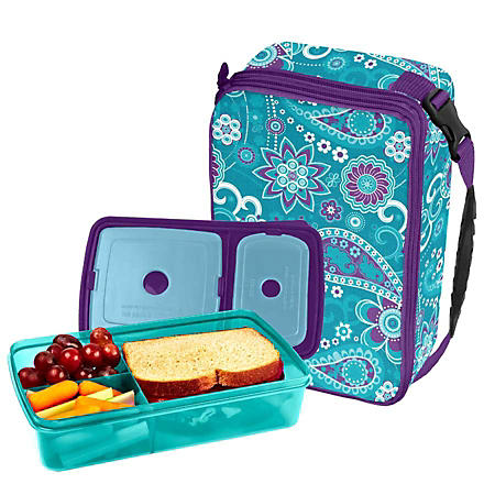 Fit & Fresh Bento Lunch Set-Teal Paisley