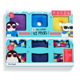6-Piece Designer Ice Pack Set (Assorted Colors)