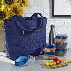 Quilted Luxe Insulated Laptop Bag with Zipper Front Pocket and Food Containers (Assorted Colors)