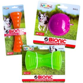 Bionic Dog Chew Toy, Orange Urban Stick, Green Bone and Purple Ball 3-Pack