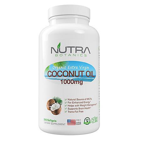 Nutra Botanics Organic Coconut Oil 1000mg (240 Softgels)