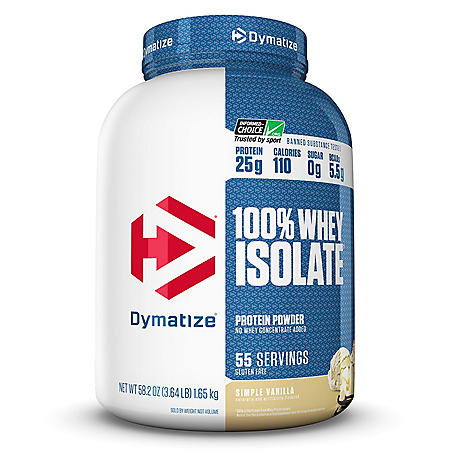 Dymatize 100% Whey Protein Isolate Powder, Simple Vanilla (55 servings)