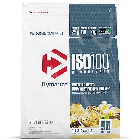 Dymatize ISO100 Hydrolyzed 100% Whey Protein Isolate Powder, Classic Vanilla (90 servings)