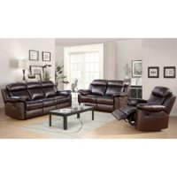 Deals on Manhattan Top-Grain Leather Living Room 3-Piece Set