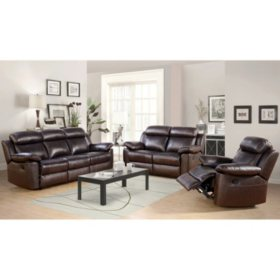 Manhattan Top-Grain Leather Living Room 3-Piece Set, Various Colors