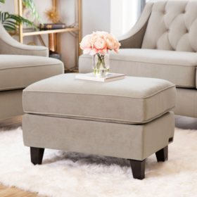 Montaque Tufted Velvet Ottoman (Assorted Colors)