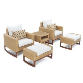 Mili 5-Piece Club Chair & Ottoman Set With Sunbrella Fabric by RST Brands (Assorted Colors)