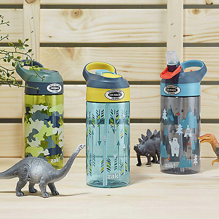 Zak Designs 17.5-oz. Tritan Water Bottle 3-Pack Set Reuseable Plastic with One-Touch Lid, Silicone Spout with Cover (Assorted Colors)