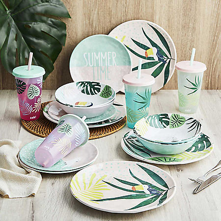 Zak Designs 16-Piece Color-Changing Tumbler Melamine Plate Bowl Dinnerware Set, Service for Four, Indoor and Outdoor Dining (Assorted Colors)