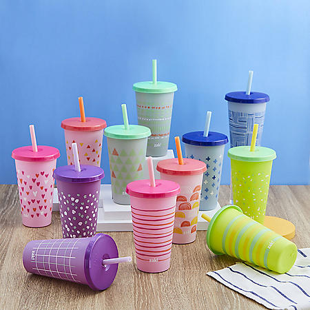 Zak Designs 25-oz. Color-Changing Tumbler 12-Pack Set Reusable Plastic with Splash-Proof Lids and Straws (Assorted Colors)