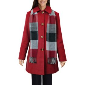 London Fog Women's Wool Scarf Coat