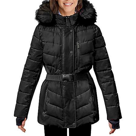 London Fog Women's Belted Puffer Jacket