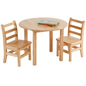 "Children's 30"" Round Hardwood Table Set with 2 Ladder-back Chairs"