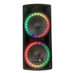 """Edison Professional M-7000 High Power Twin 15"""" PA Speaker with LED Lighting"""