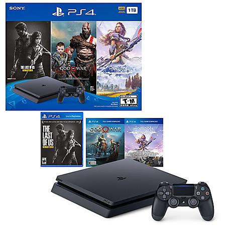 1TB Slim System with God of War, Horizon: Zero Dawn, The Last of Us (PlayStation 4)