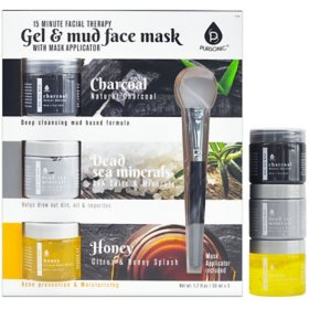 Pursonic Gel Mud Face Mask 3-pack, Charcoal + Honey + Dead Sea Minerals