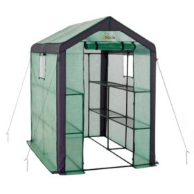 "Ogrow Large Heavy Duty WALK-IN 2 Tier 8 Shelf Portable Lawn and Garden Greenhouse - Measures 77"" H x 56"" W x 56"" D"